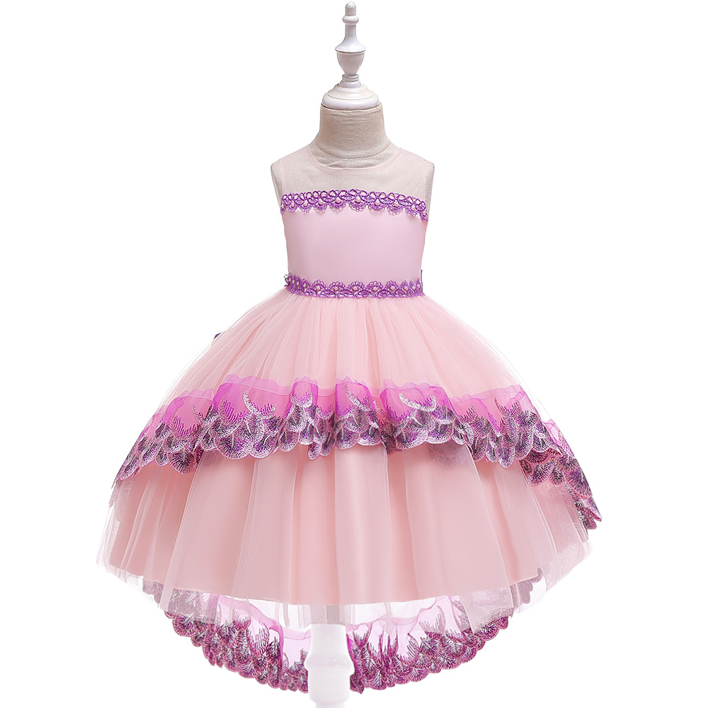 Smart Pink Ballgown High Low  Flower Girl Tulle Dress  2019 Fall Long  Sequins Toddler Pageant Dresses