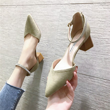 Flock Thick High Heels sandals Women Summer  Elegant Pointed Toe Shallow Pumps Office shoes Women Closed Toe Sandals 2020 fashion design women full grain leather pumps summer ankle wrap cool high heels shoes for women closed toe women sandals