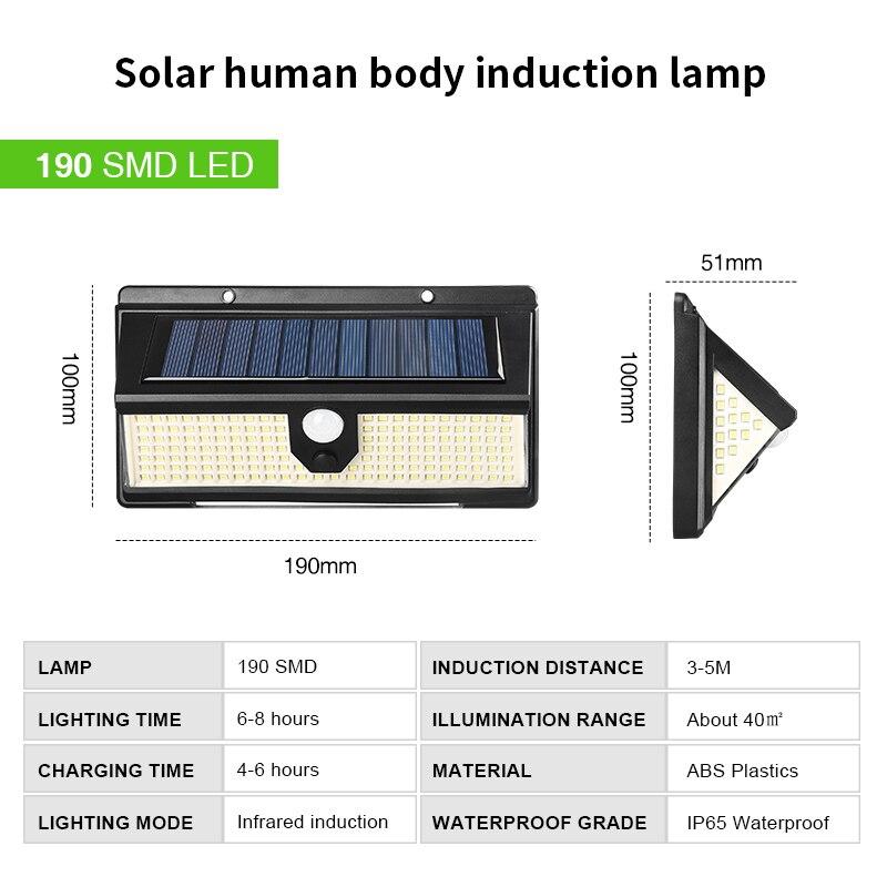 190 LED Solar Lampe Outdoor PIR Motion Sensor Solar Wand Licht Wasserdicht Drei-seitige Beleuchtung Notfall Garten Hof Lampen