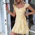 Simplee Gelb druck frauen kurze sommerkleid Sommer square neck rüschen A-line weibliche kleider 2021 Casual mode outfit Vestidos
