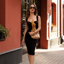 Herten Dame Bandage Jurk 2019 New Arrivals Rode Spaghetti Band Jurk Bodycon Vestidos Winter Bandage Party Jurken Avond(China)