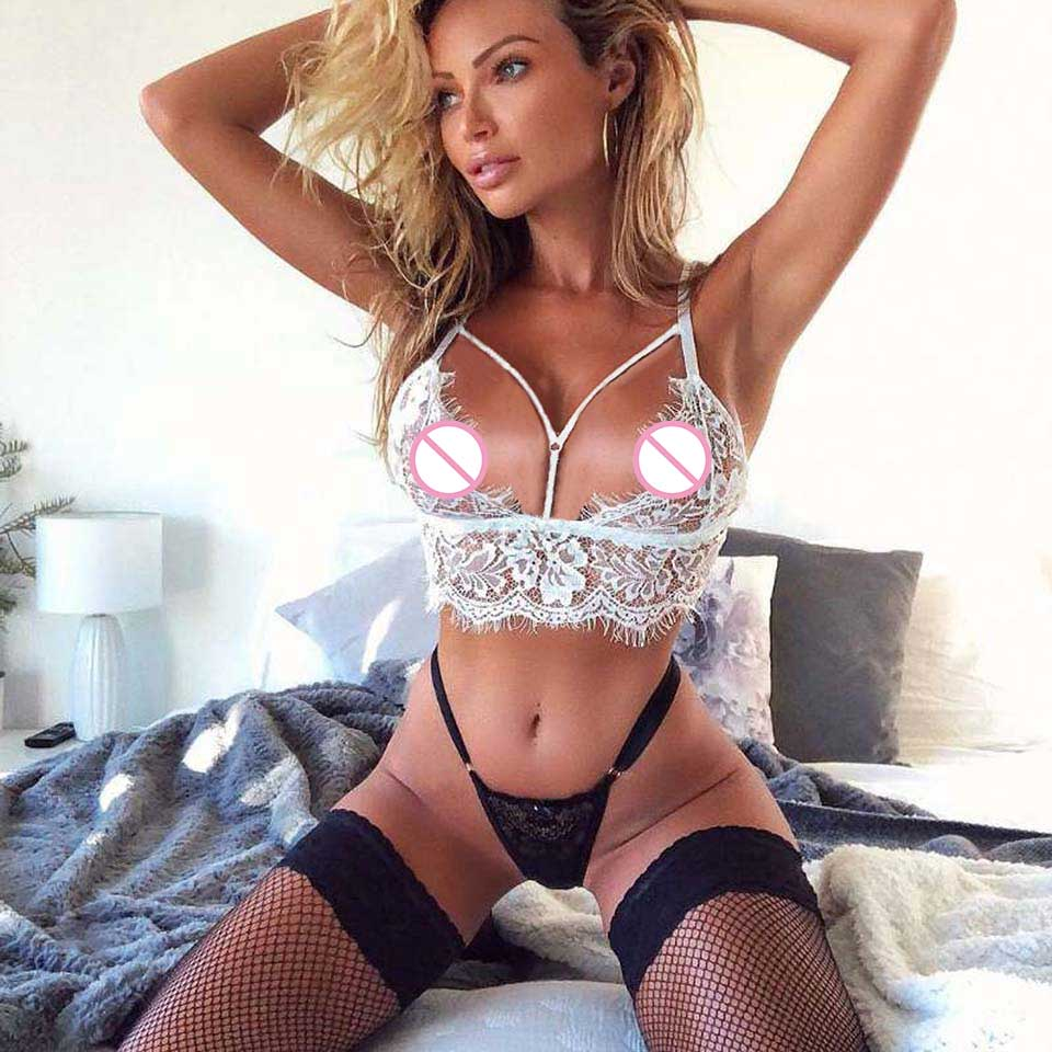 New Hot Erotic Underwear Women Lingerie Set Porno Bra And Panties Lace Transparent Sleepwear Babydoll Plus Size Sexy Clothes in Lingerie Sets from Novelty Special Use