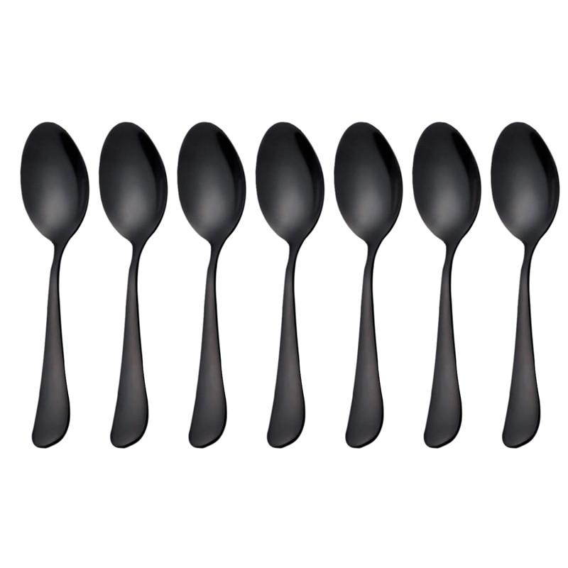Black teaspoons teaspoons, Mini stainless steel cake spoons, scoop for ice cream , small teaspoons for dessert, set of 6 (black
