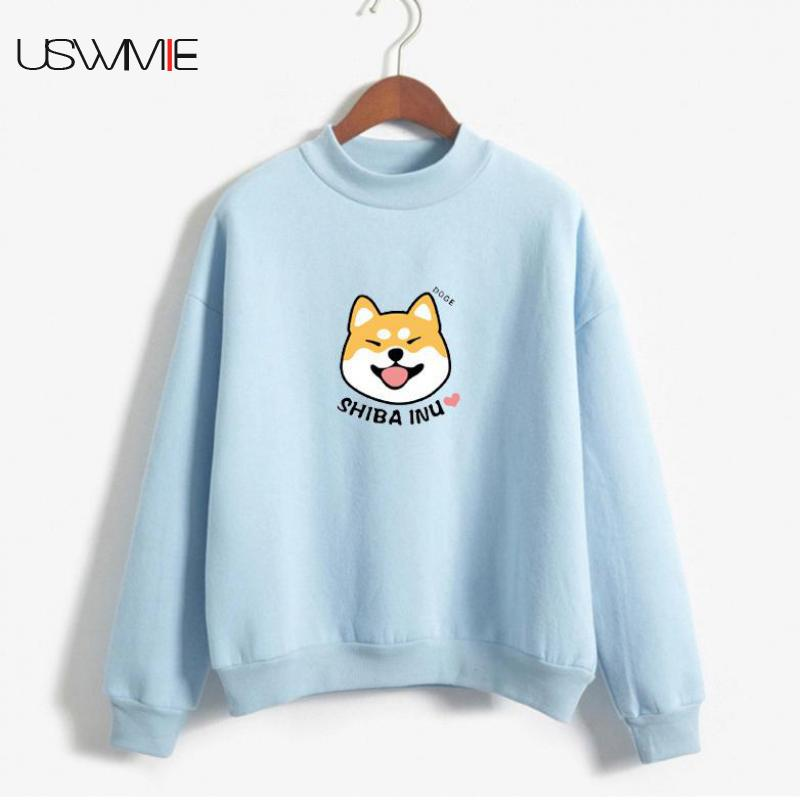 2019 New Kawaii Hoodie Plus Plush Thick Harajuku Womens Clothing Standing Collar Long Sleeve Casual Solid Color Printed Pullover