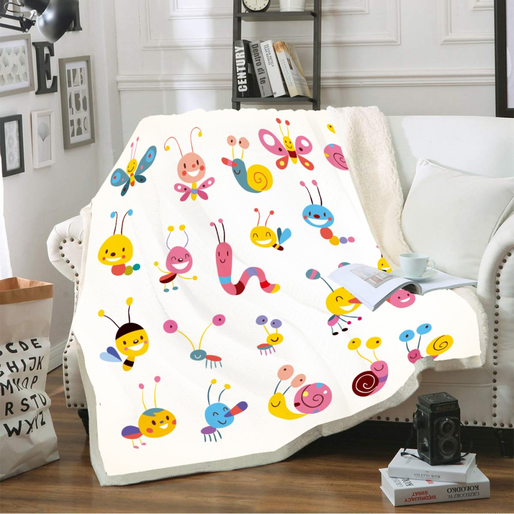 Custom Cartoon Insect Sherpa Fleece 3D Print Soft Blanket New Animals Home Office Travel Warm Blanket for Kids Boys 150x200cm - 2