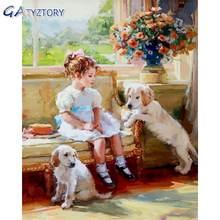 Gatyztory Раскрашивание по номерам собаки и ребенка для детей