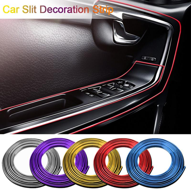 5m Car Style Interior Moulding Trims Auto LED Strip Garland Line Strips Auto Car Dashboard Door Gap Edge Trim Accessories