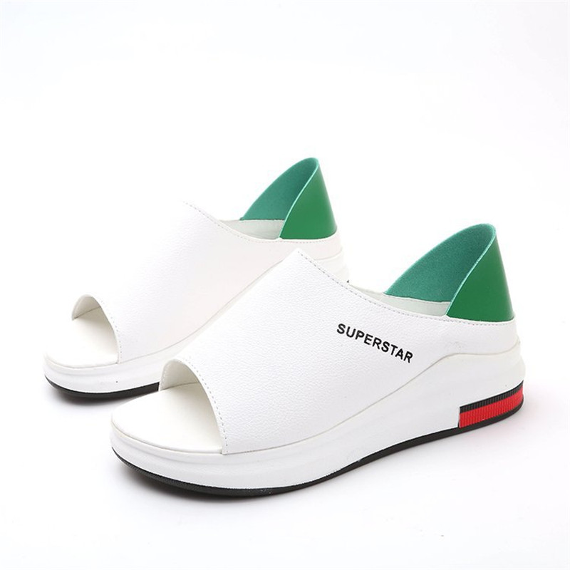 Plus Size Summer Casual Flat Women Sandals Sport Fashion Mixed Colors Slip On PU Leather Non Innrech Market.com