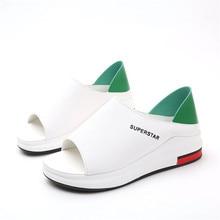 Plus Size Summer Casual Flat Women Sandals Sport Fashion Mixed Colors Slip-On PU Leather Non-slip Platform Beach Women Shoes
