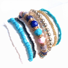 2019 Vintage 7PCS Bohemian Elastic Beaded Bracelet Fashion Ethnic Multilayer Jewelry For Women Girl