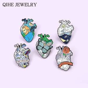 Anatomical Human Heart Pins Oil Painting Ocean World Butterfly Rose Love Art Heart Enamel Lapel Pin Medical Jewelry Organ Badge