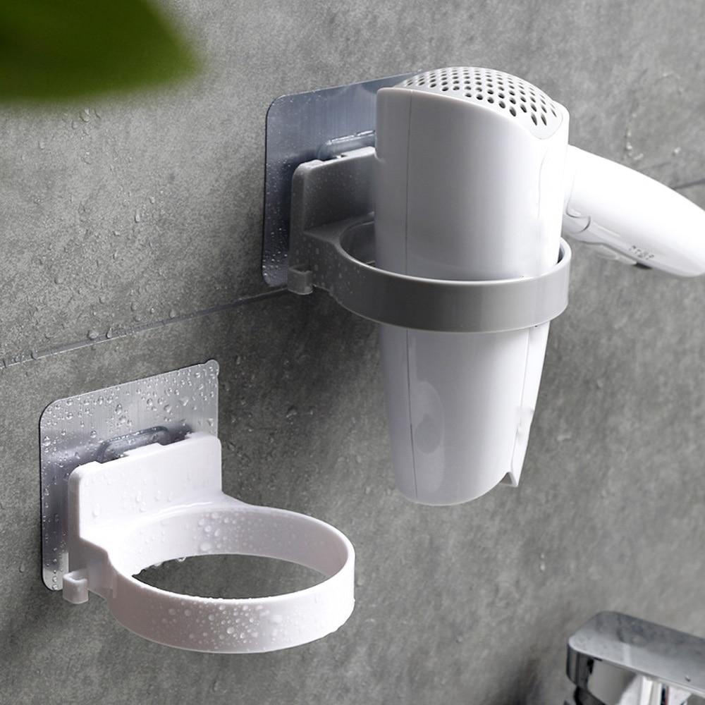 Durable Bathroom Wall Mounted Hair Dryer Holder ABS Bathroom Storage Shelf Creative Convenient Bathroom Shelf