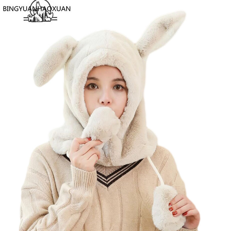 BINGYUANHAOXUAN 2019 Cute Keep Warm Moving Hat Rabbit Ears Plush Sweet Cute Airbag Cap Soft Plush Sweet Cute Airbag Cap Gifts