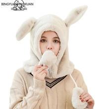 BINGYUANHAOXUAN 2019 Cute Keep Warm Moving Hat Rabbit Ears Plush Sweet Cute Airb