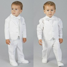 2020 White Little Kids Suits Blazers Baby Boys Custom Made Coat Suit Formal Wedding Wear Black 3 Pieces Children Clothing