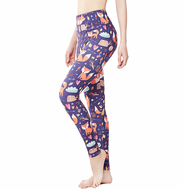 9026 AliExpress Europe And America Small Fox Animal Print Yoga Pants Women's INS Leggings