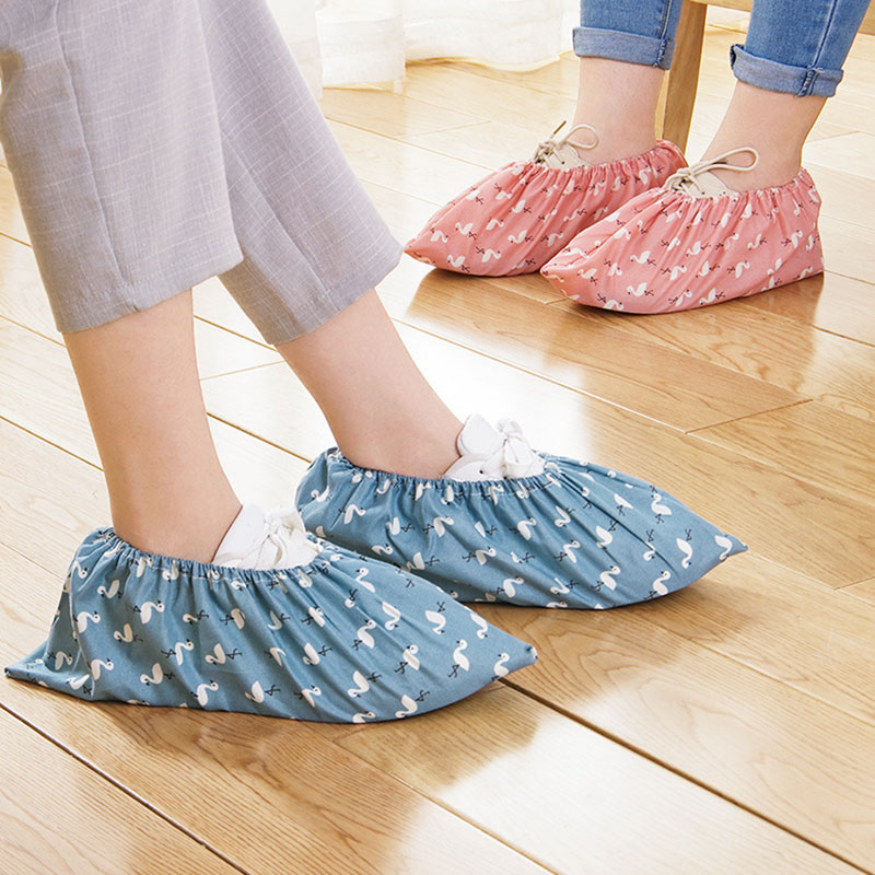 New Style Washed Cloth Shoes Cover Print Thick Wear-resistant Foot Cover Indoor Dust Foot Cover Unisex Shoe Covers High Quality