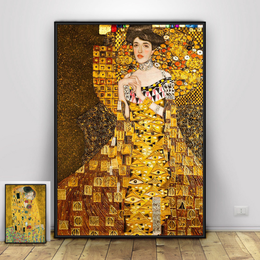 The Kiss and Portrait of Adele Bloch-Bauer by Gustav Klimt