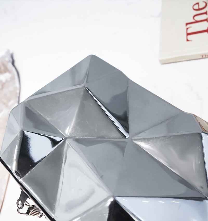 Hexagon Women Handbags Metal High Quality Clutches Fashion Geometric Mini Party Black Evening Purse Silver Bags Gold Box Clutch (25)