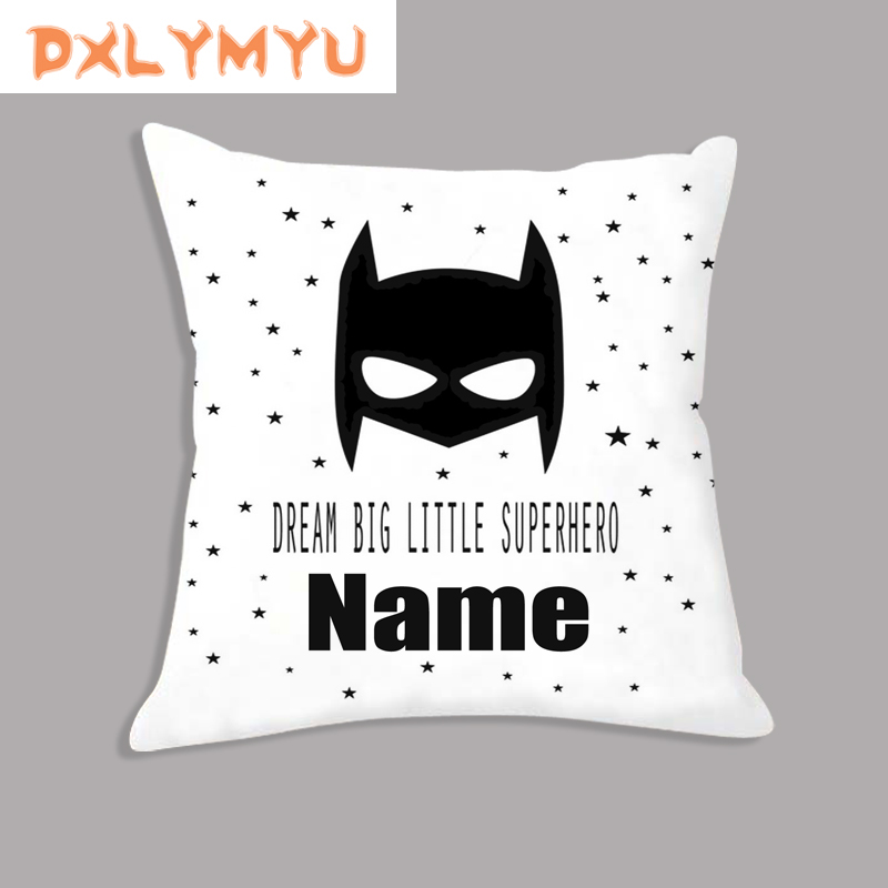 Superhero Soft Cushion Cover For Sofa Simple Cartoon Pillow Case The Children Name Combination Diy Custom Pillow Covers For Kids