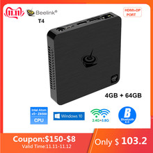 Beelink T4 Mini PC Intel Atom x5-Z8500 Windows 10 New Desktop PC 4GB+64GB 2.4/5.8GHz WiFi BT4.0 HDMI+DP Dual Display