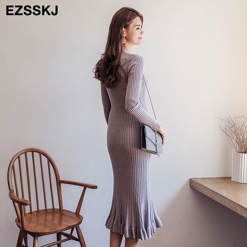 Image 2 - 2019 autumn winter thick mermaid maxi sweater dress women o neck long sweater dress elegant female a line slim sexy knit dress-in Dresses from Women's Clothing