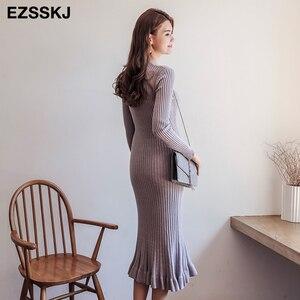 Image 2 - 2020 thu đông dày nàng tiên cá maxi áo len Đầm nữ cổ tròn dài áo len Đầm nữ chữ A sexy chằn