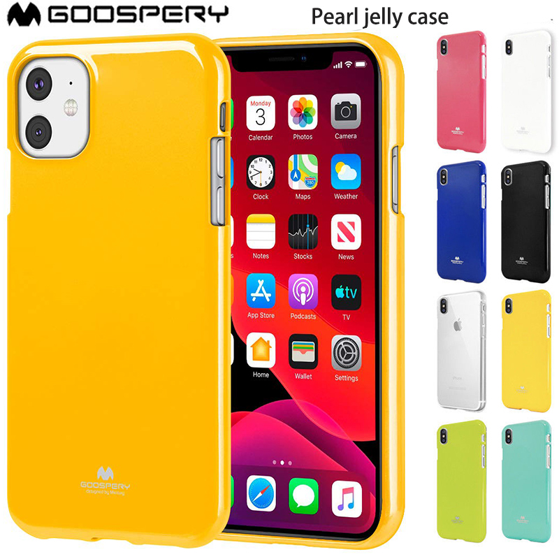 For <font><b>iPhone</b></font> 11 11pro 11 Pro Max <font><b>X</b></font> XR <font><b>XS</b></font> MAX 5 5S SE 6 6S 7 8 PLUS <font><b>Case</b></font> <font><b>Original</b></font> Goospery Pearl Jelly Flexible TPU Soft Cover image