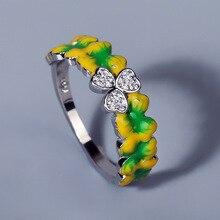 Clover Ring Jewelry Handmade 925-Silver Ladies Enamel Flower Fresh Epoxy Forest Elegant