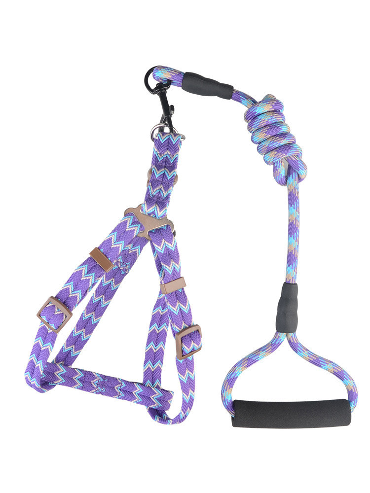 Pet Traction Medium-sized Chest And Back Set Arrowhead Lanyard Jacquard Dogs Unscalable Dog Chain Bichon Dog Traction Rope Dog