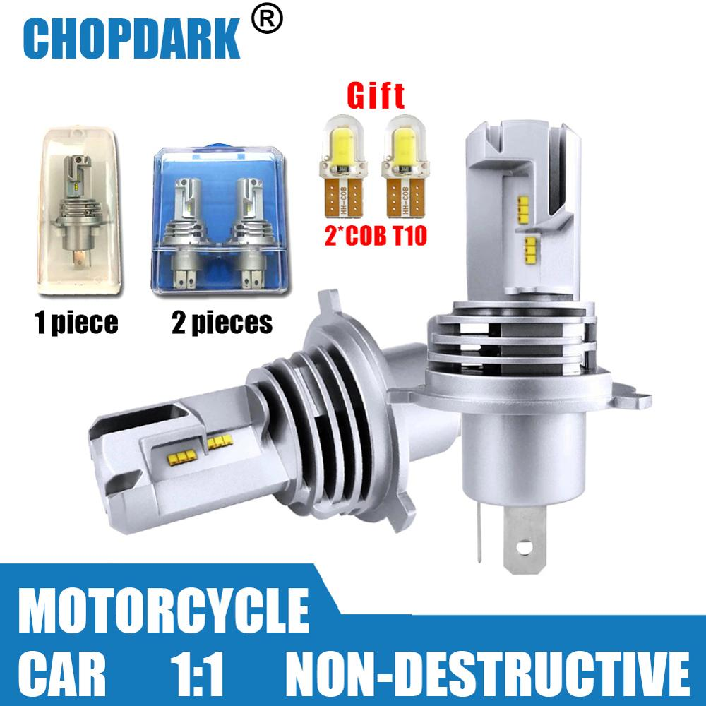 LED H4 LED Car Motorcycle LED Headlight Bulbs Hb2 9003 Non-destructive  High Low Beam ZES Chips Wireless Direct Plug-in