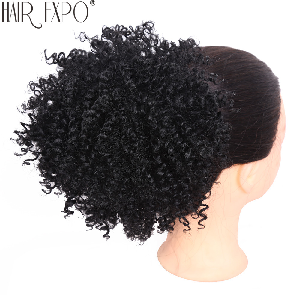 8inch Short Kinky Curly Synthetic Hair Bun Drawstring Ponytail Afro Puff Chignon Hair Pieces For Women Updo Clip Hair Extension
