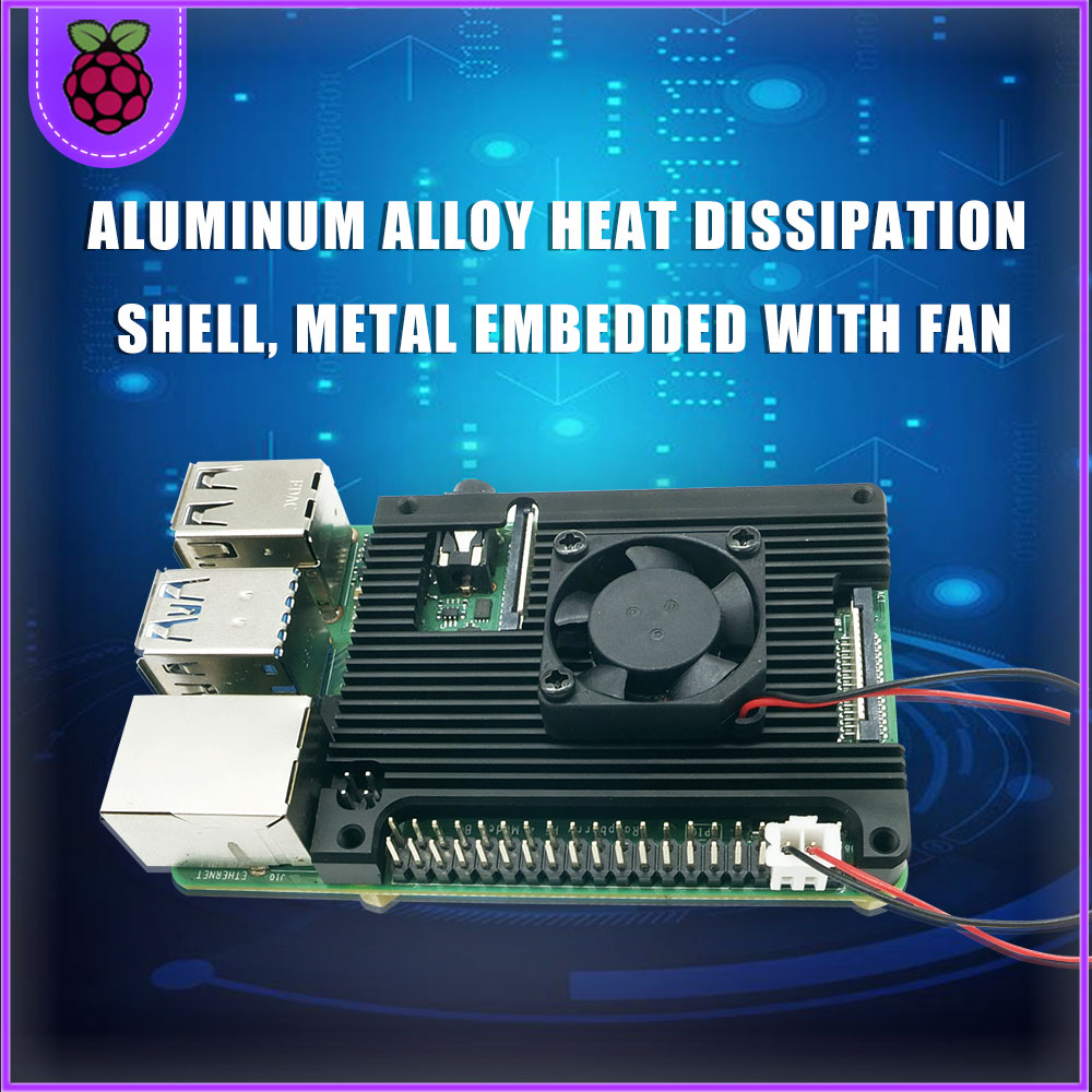 <font><b>Raspberry</b></font> <font><b>Pi</b></font> <font><b>4</b></font> <font><b>Model</b></font> <font><b>B</b></font> Aluminum Alloy <font><b>Heatsink</b></font> with 5V Cooling Fan for <font><b>Raspberry</b></font> <font><b>Pi</b></font> <font><b>4</b></font> <font><b>Model</b></font> <font><b>B</b></font> and RPI 4B image