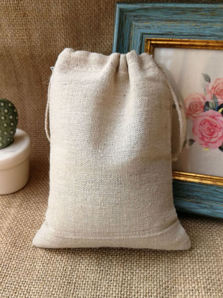 Pouches Jewelry Gift-Bags Jute-Packaging Linen 10x15cm-Pack 50-Makeup Natural 9x12cm
