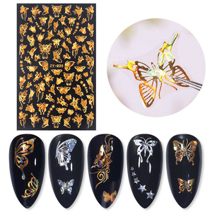 Holographic 3D Self-adhesive Nail Sticker Gold Butterfly Daisy Colorful Marble Nail Art Decoration Design For Nail DIY Wholesale