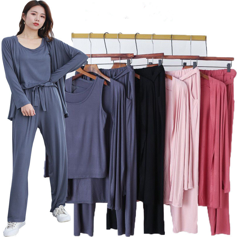 3 Pieces Set Long Sleeve Modal Atoff Home Women's Loose Casual Pajamas Soft Home Cloth Plus Size Loose Sleepwear