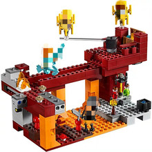 цена на 2019 New My World Building Block Compatible with Legoing MinecING 21154 My World War Flame Man Christmas Toys for Boys Gift