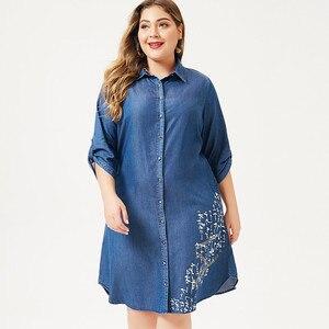 Image 4 - MK 2019 autumn Plus Size womens denim Shirt dress fashion Ladies femal elegant embroidery dresses woman party night