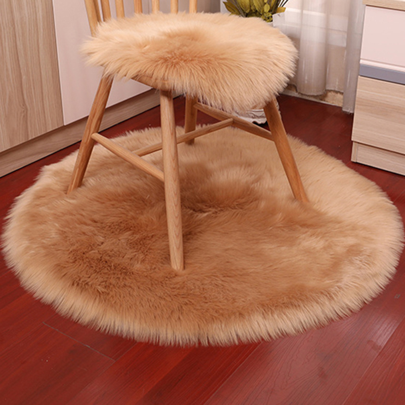 40/90cm Round Plush Soft Carpet Mat Area Artificial Faux Sheepskin Rug For Bedroom Living Room Bedside Rugs Floor Home Textile