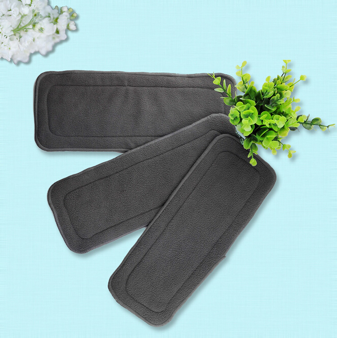 3Pcs/lot 4 Layers Soft Bamboo Charcoal Fiber Cloth Diaper Nappy Inserts 14*33cm Babies Activity Accessories Cleaning Reusable