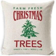 """1"""" льняная ткань, декоративная подушка с рождественскими елками, домашний диван, декор CV005"""