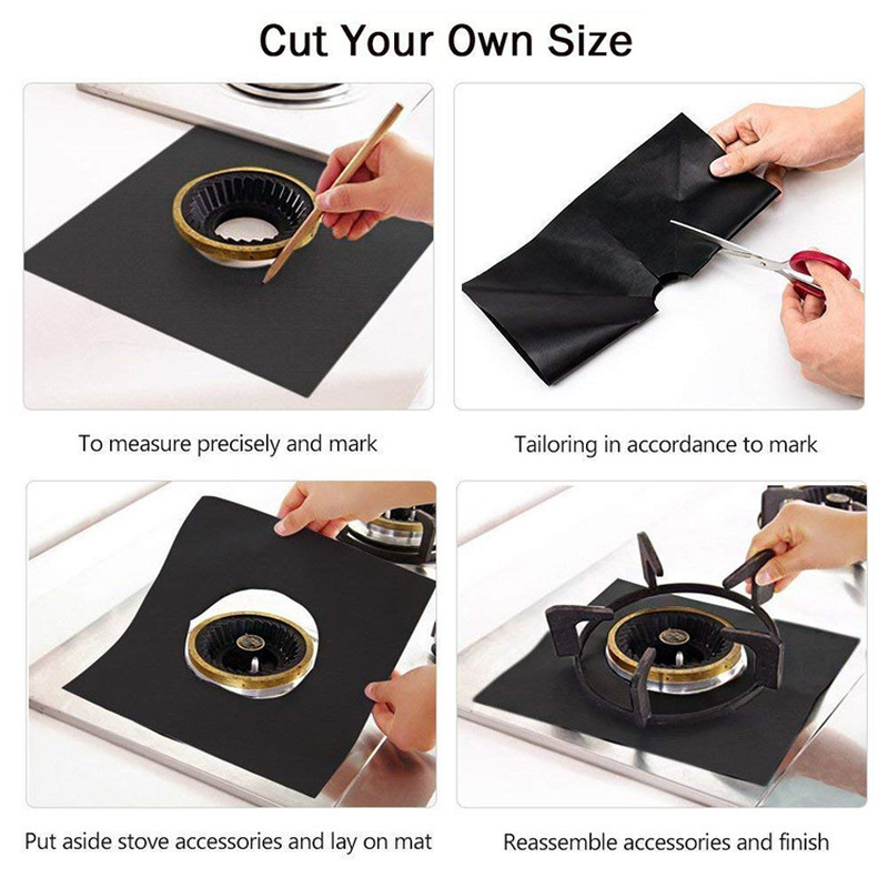 Image 5 - 4Pcs Gas Stove Protector gas Stove Cooker Burner cover liner Clean Mat Kitchen Gas Stove Stovetop Protector Kitchen Accessories-in Other Cookware Parts from Home & Garden