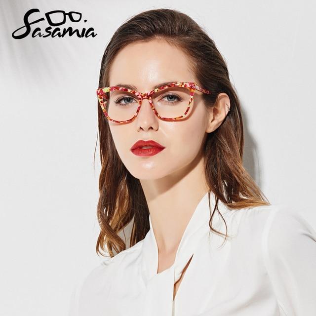 SASAMIA Cat Eye Glasses Frame Women Eyeglasses Clear Prescription Spectacle Optical Frames Acetate Myopia Eyewear Women Eyeglass