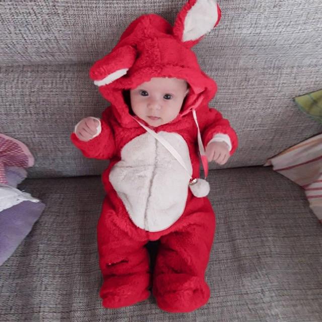 Newborn Baby Jumpsuit Set Baby Girl Boy Kids Winter Cute Ear Fleece Jumpsuit Romper Warm Outwear Children Clothing