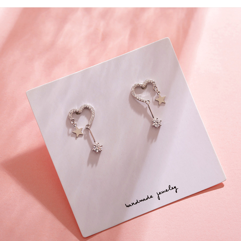 OBEAR Heart-Shaped Star Earrings Simple Personality Wild Zircon Earrings For Women Jewelry Gift