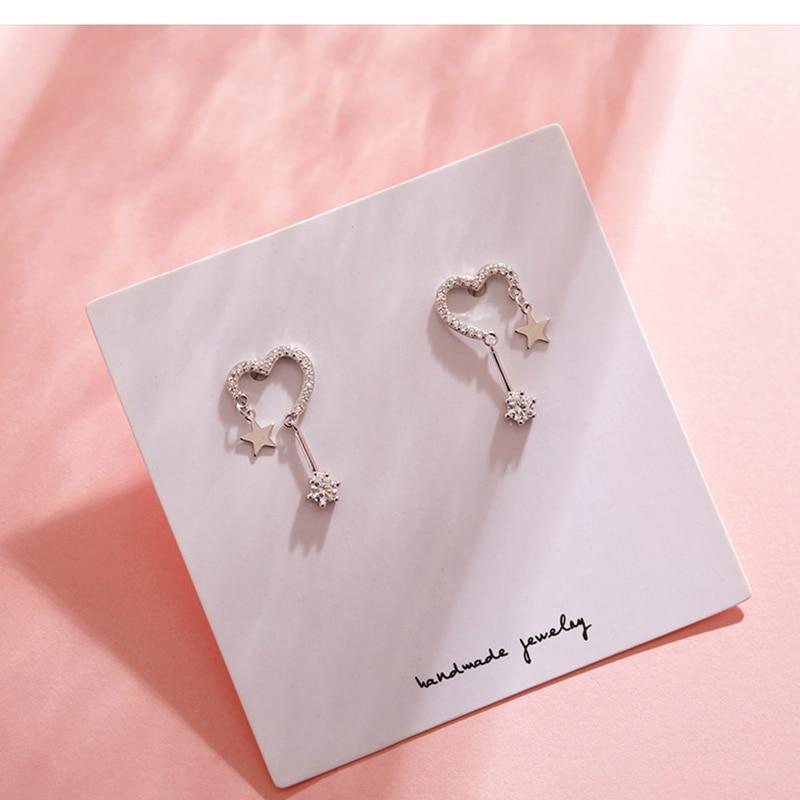 OBEAR Heart-Shaped Star Earrings Simple Personality Wild Zircon Earrings For Women Jewelry Gift