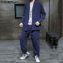 Mens Suits INCERUN Shirt Waist-Pants Men-Sets Chinese-Style 2-Pieces Cotton Casual Solid