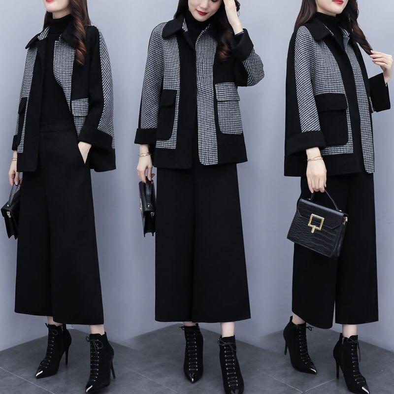 2019 Autumn Winter Black Woolen Two Piece Sets Outfits Women Plus Size Plaid Coat + Wide Leg Pants Suits Elegant Fashion Sets 29