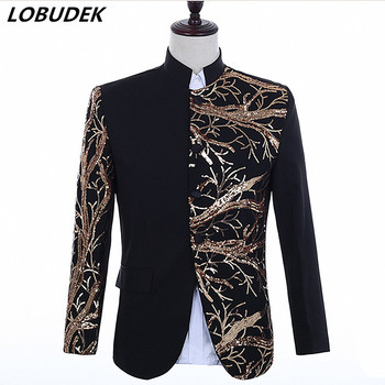 Chinese Tunic Jacket Black Red White Embroidery Sequin Uniform Coat Male Singer Host Nightclub Concert Stage Performance Costume