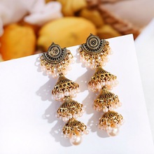 2020 Women's Gold Carved Bells Earrings Bijoux Vintage Bohemia Pearl Beaded Tassel Long Earrings Ethnic Tribe Indian Jewelry